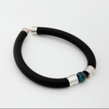 Rubber and silver necklace