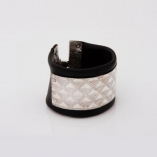 Rubber and etched silver bracelet