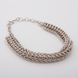 Silver wire, linked chain necklace