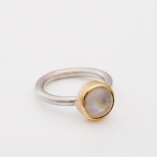 Silver Ring with gold bezel